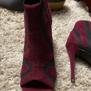 Open toe burgundy and black bootie